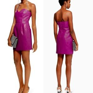 NWT TopShop PETITE PU Bandeau Mini Dress Purple